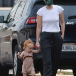 Kate Mara in a White Tee Goes on a Coffee run with Her Little Toddler in Glendale 08/21/2020