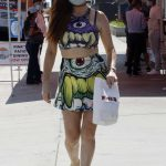 Phoebe Price in a Monster Cartoon Outfit Walks Her Dog in Hollywood 08/27/2020