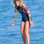 Sofia Richie in a Black Swimsuit