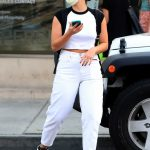 Addison Rae in a White Jeans Arrives at a Dermatologist Office in Beverly Hills 09/15/2020