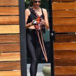 Alessandra Ambrosio in a Black Exercise Outfit Wraps Up a Private Workout Session in Los Angeles 09/14/2020