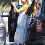 Alessandra Ambrosio in a Blue Striped Sundress Visits a Skin Care Clinic in Los Angeles 09/22/2020