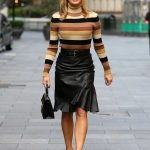 Amanda Holden in a Black Leather Skirt Arrives at the Global Radio Studios in London 09/25/2020