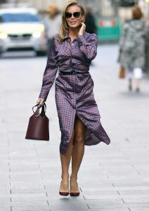 Amanda Holden in a Satin Shirt Midi Dress