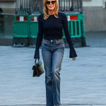 Amanda Holden in a Skinny Flared Denim Arrives at the Heart Radio Studios in London 09/28/2020
