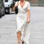 Amanda Holden in a White Polka Dot Dress Arrives at the Heart Radio in London 09/11/2020