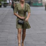 Amanda Holden in an Olive Animal Print Dress Arrives at the Heart Radio in London 09/16/2020
