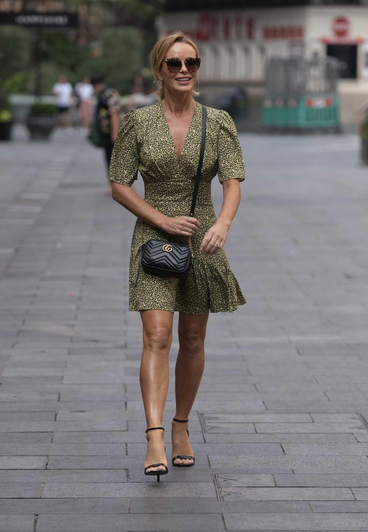 Amanda Holden in an Olive Animal Print Dress