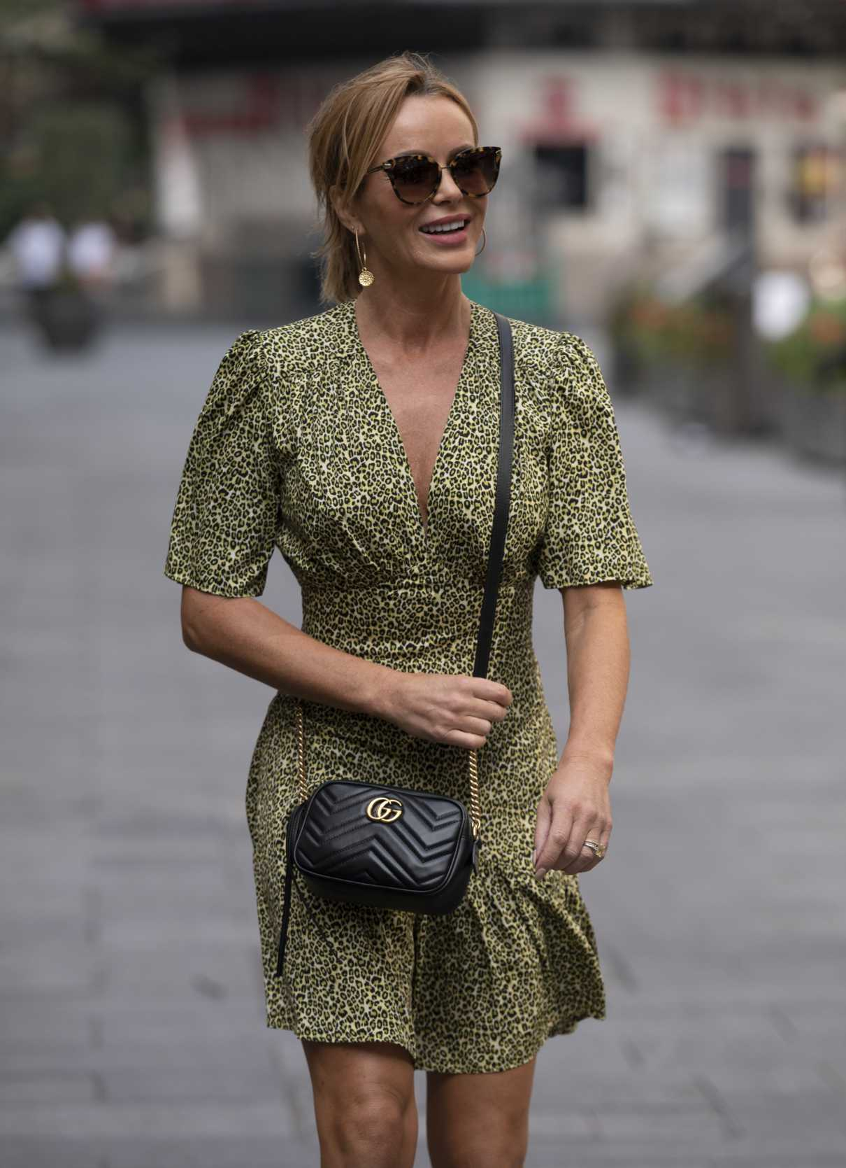 Amanda Holden in an Olive Animal Print Dress