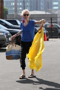Anne Heche in a Blue Tee