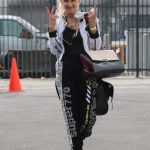 Anne Heche in a White Bomber Jacket Heads Into Dance Practice at the DWTS Studio in Los Angeles 09/13/2020