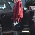 Ariel Winter in a Red Long Sleeves T-Shirt Returns Home After a Shopping Trip in Los Angeles 09/22/2020