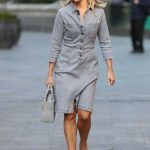 Ashley Roberts in a Grey Dress Arrives at the Heart Radio Studios in London 09/22/2020