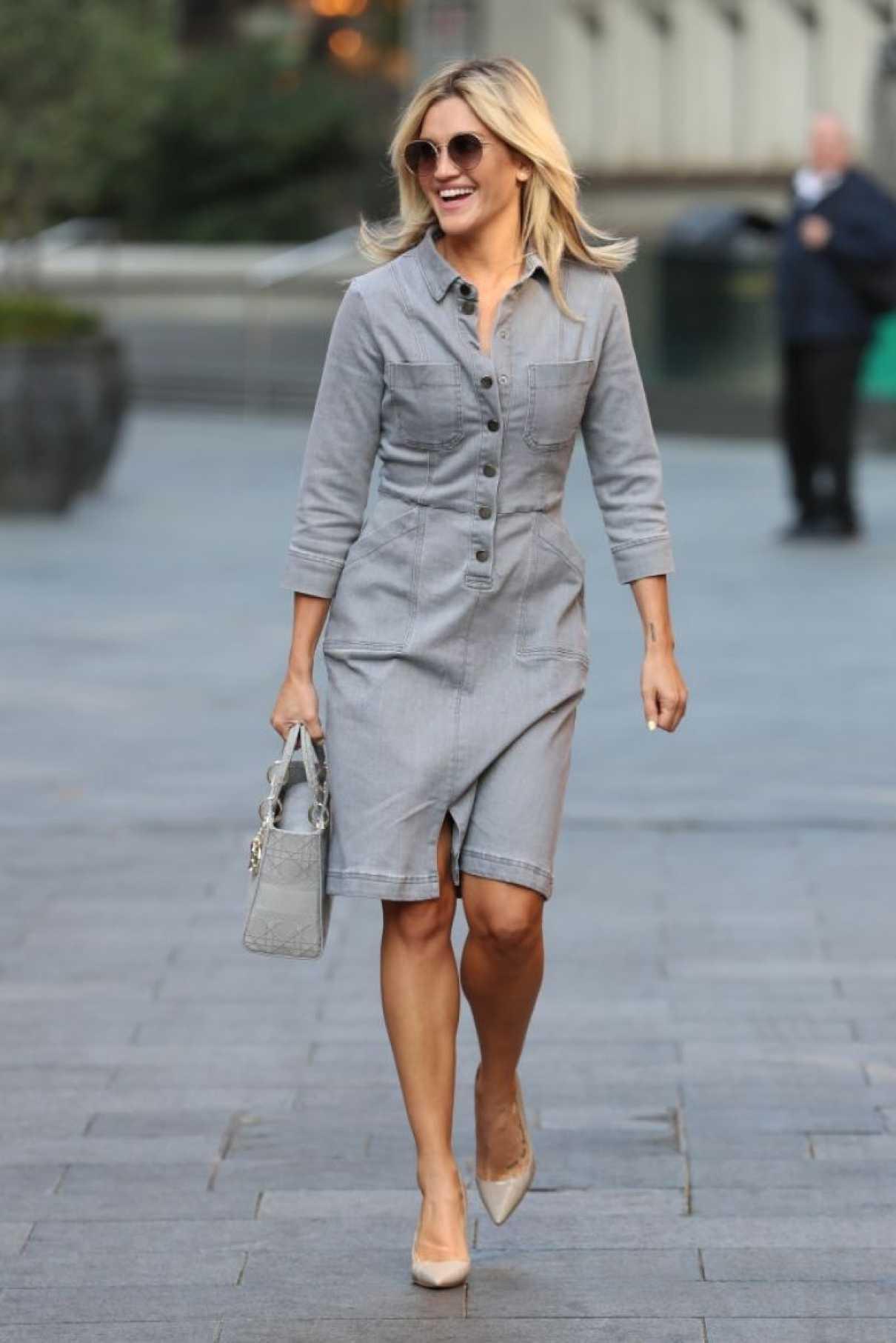 Ashley Roberts in a Grey Dress