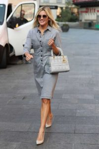 Ashley Roberts in a Grey Dress Arrives