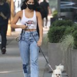 Camila Mendes in a White Top Walks Her Dog in Vancouver, Canada 09/11/2020