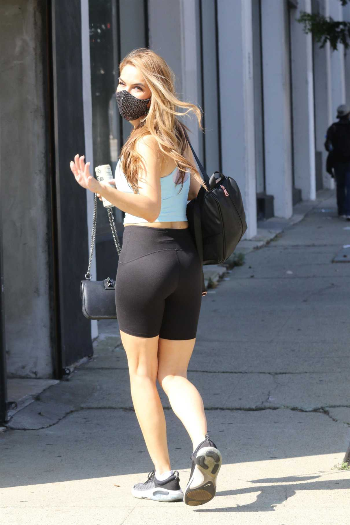 Chrishell Stause in a Black Spandex Shorts