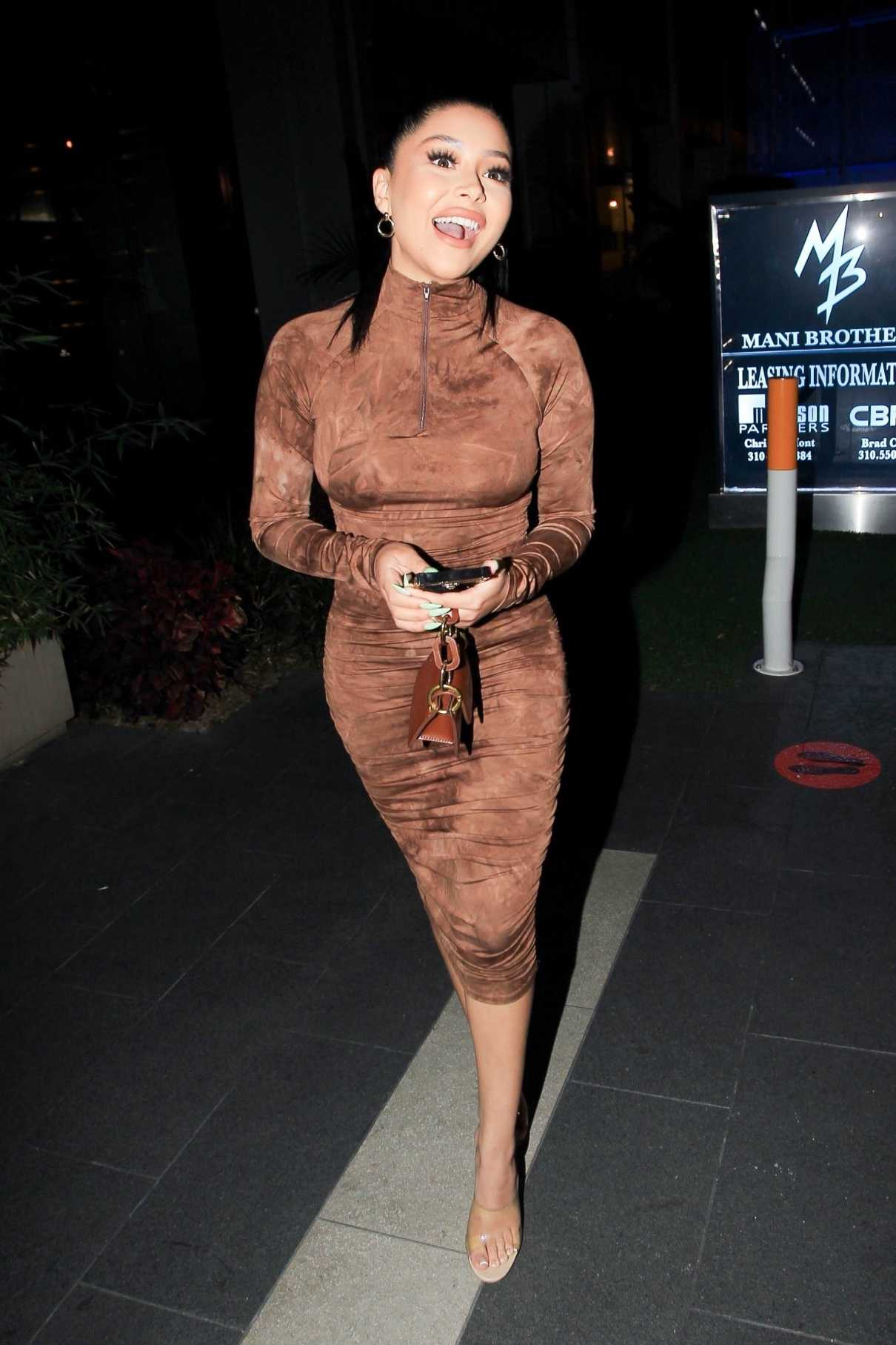 Daisy Marquez in a Brown Bodycon Maxi Dress