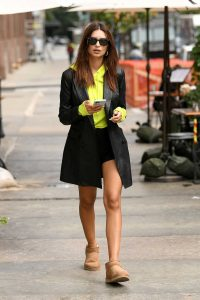 Emily Ratajkowski in a Black Leather Blazer