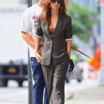Emily Ratajkowski in a Grey Pantsuit Was Seen Out with Sebastian Bear-McClard in New York 09/26/2020