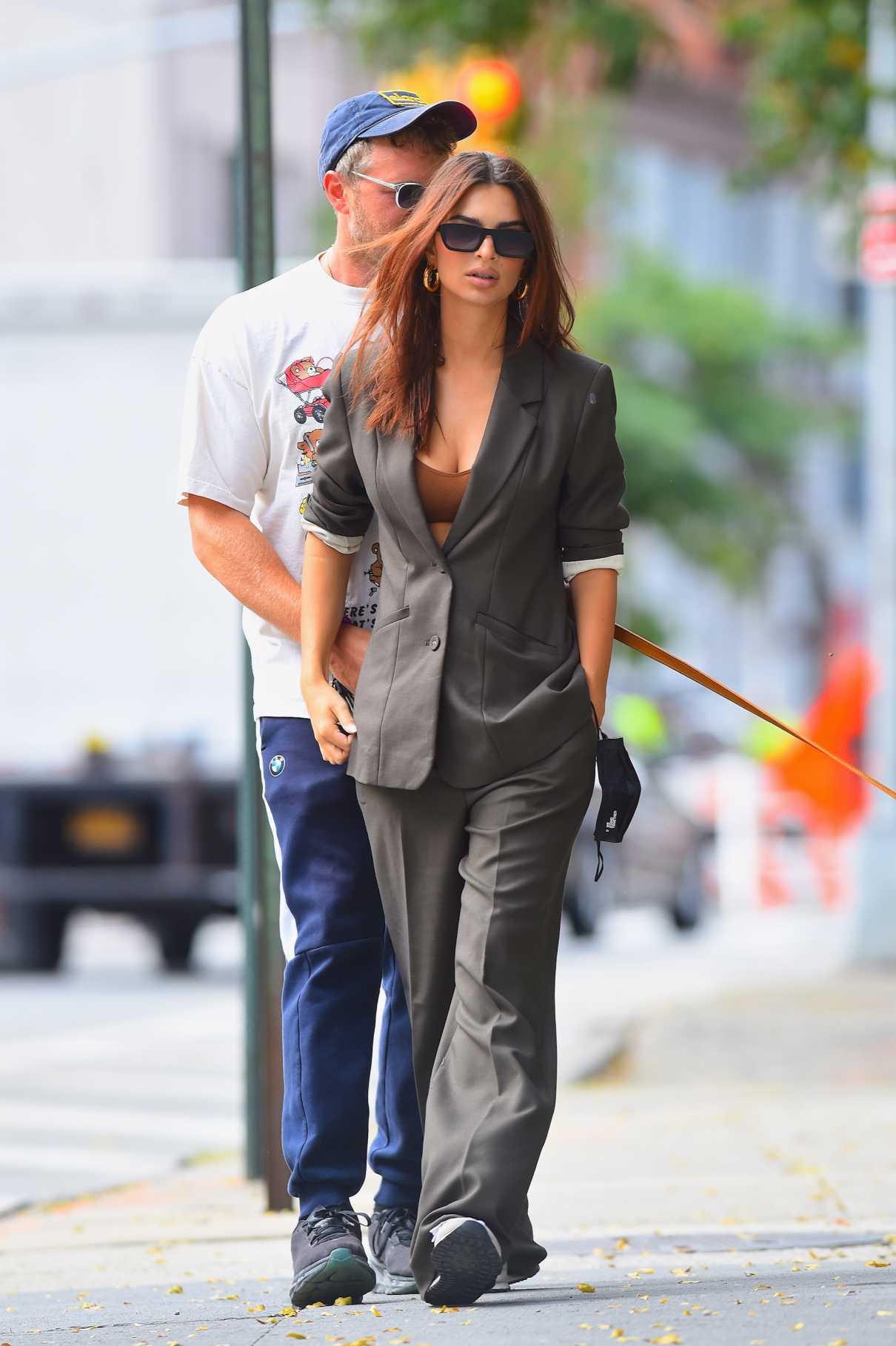 Emily Ratajkowski in a Grey Pantsuit