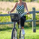 Emily Ratajkowski in a Polka Dot Blouse Does a Bike Ride in the Hamptons, New York 09/03/2020