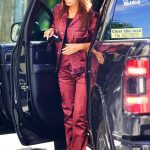 Emily Ratajkowski in a Red Suit Arrives in Central Park in New York 09/12/2020