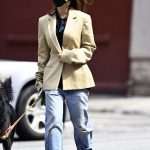 Emily Ratajkowski in a Yellow Blazer Walks Her Dog in New York 09/18/2020