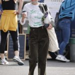 Emma Corrin in an Olive Pants Attends a Farmers Market with a Friend in London 09/21/2020