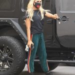 Emma Slater in a Black Sneakers Arrives for Rehearsal at the DWTS Studio in Los Angeles 09/11/2020