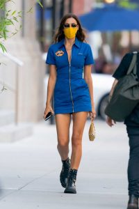 Irina Shayk in a Blue Mini Dress