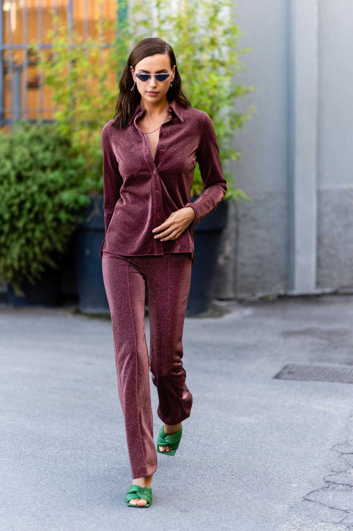 Irina Shayk in a Green Flip-Flops