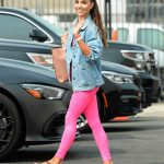 Jenna Johnson in a Pink Leggings Arrives at the Dance Studio in Los Angeles 09/13/2020