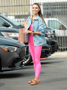 Jenna Johnson in a Pink Leggings