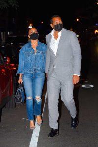 Jennifer Lopez in a Blue Denim Suit