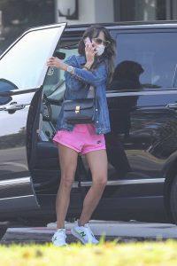 Jordana Brewster in a Pink Shorts