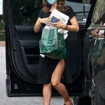 Katharine McPhee in a Black Dress Arrives at a Hotel in Los Angeles 09/13/2020