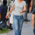 Katie Holmes in a Grey Tee Was Seen Out with Her New Boyfriend Emilio Vitolo Jr. in New York 09/10/2020