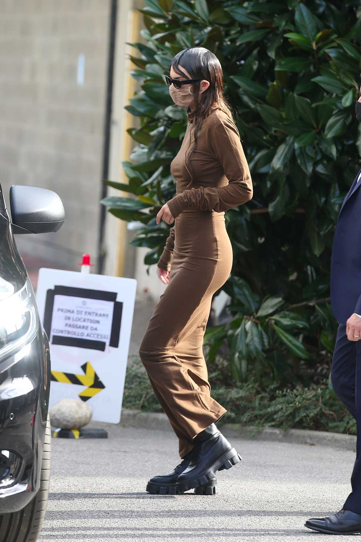 Kendall Jenner in a Brown Maxi Dress