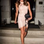 Lizzie Cundy in a Beige Dress Leaves Annabel's Private Members Club in Mayfair, London 09/15/2020