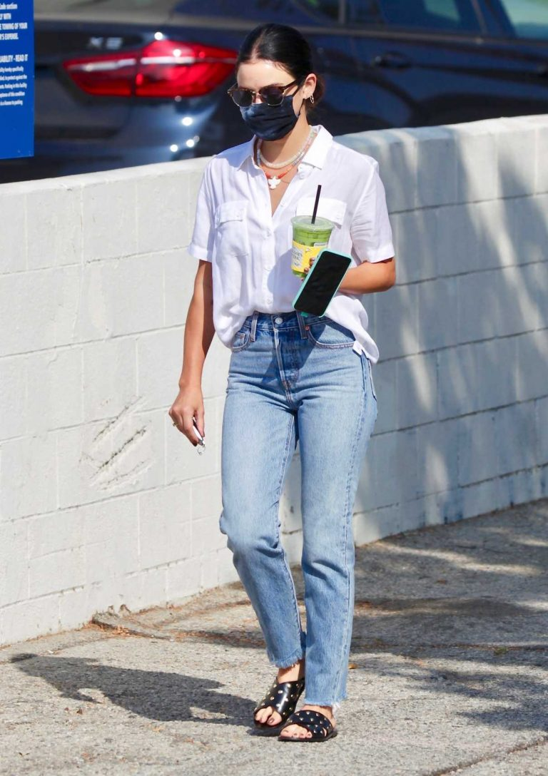 Lucy Hale in a White Shirt Grabs a Drink from Alfred Coffee in Studio City 09/26/2020-3 ...