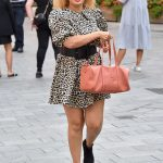 Pandora Christie in an Animal Print Dress Leaves the Global Radio Studios in London 09/15/2020