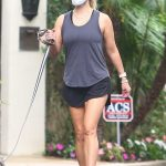 Reese Witherspoon in a Gray Tank Top Walks Her Dog in Brentwood 09/08/2020