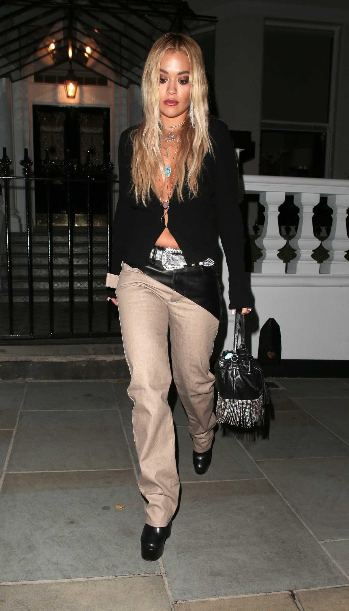 Rita Ora in a Beige Pants
