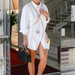 Rita Ora in a White Shirt Leaves Her Hotel in Milan 09/23/2020