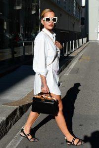 Rita Ora in a White Shirt