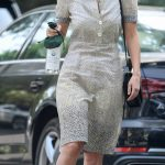 Rumer Willis in a Grey Floral Dress Visits a Friends Home in Beverly Hills 09/17/2020