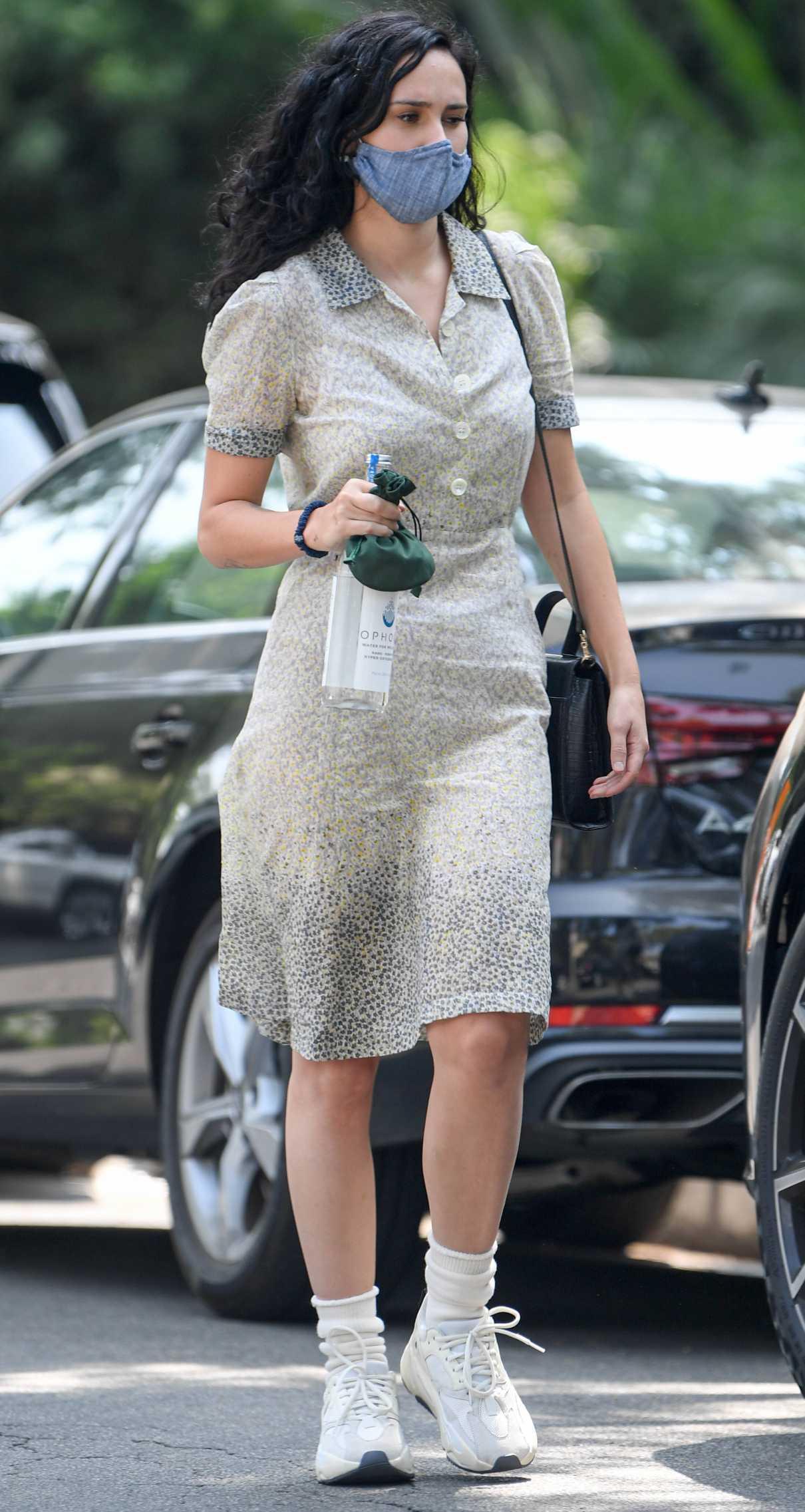 Rumer Willis in a Grey Floral Dress