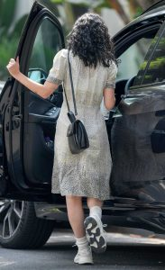 Rumer Willis in a Grey Floral Dress