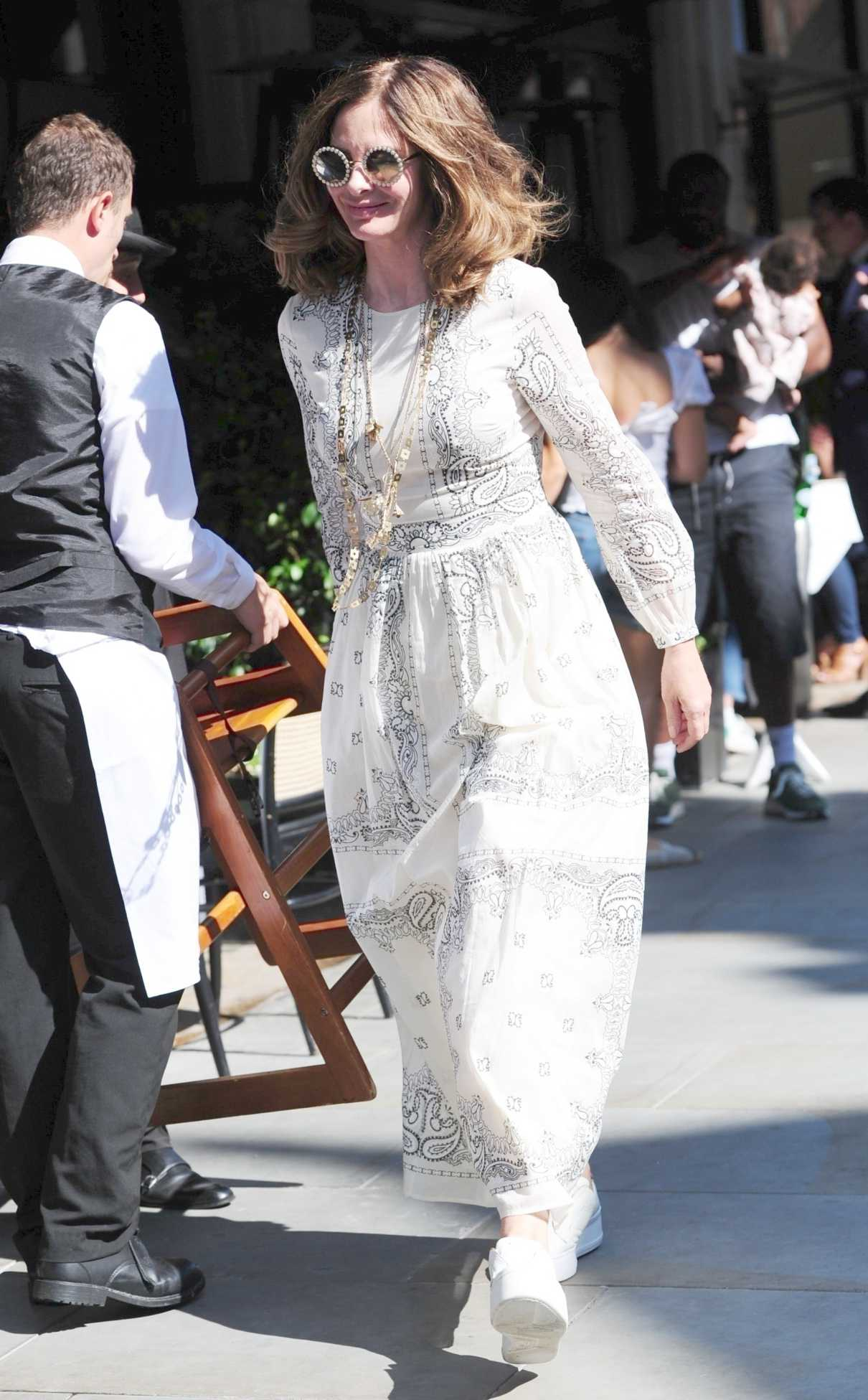 Trinny Woodall in a White Dress